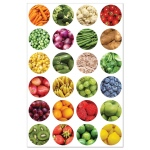 "Hygloss Themed Sticker Forms: Fruit & Veggie 1"", 20 Sheets"