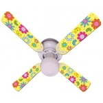 Ceiling Fan Designers Flower Power Butterflies Yellow Ceiling Fan: 42""