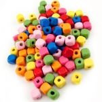 Hygloss Bright Wooden Beads: Wooden Colored Cube Beads, 100