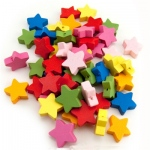Hygloss Bright Wooden Beads: Wooden Colored Star Beads, 50
