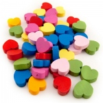 Hygloss Bright Wooden Beads: Wooden Colored Heart Beads, 125