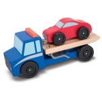 Flatbed Tow Truck Wooden Toy Set: 3+ Years