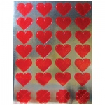 Hygloss Foil Red Hearts Sticker Forms: 20 Sheets