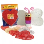"Hygloss Heart Doilies: 18 Gold and Silver, 32 Red and White, 6"", 100"