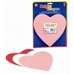 "Hygloss Tissue Shapes: Red, White, Pink, 6"", 180 Hearts"