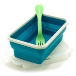 Eyla's SmashBox Collapsible Single Lunchbox Single Compartment with Utensil: Blue