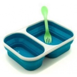 Eyla's SmashBox Collapisble Single Lunchbox Double Compartment with Utensil: Blue