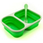 Eyla's SmashBox Collapisble Single Lunchbox Double Compartment with Utensil: Green