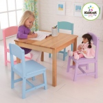 Kidkraft Seaside Table & 4 Chair Set: Natural square table with 4 colorful chairs