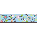 RoomMates Blue Floral Scroll Peel & Stick Border
