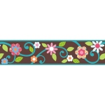 RoomMates Brown Floral Scroll Peel & Stick Border