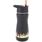 "Eyla's ""Frost"" Kids' Stainless Steel Insulated Bottle with Straw: Black with Flames, Top 13oz/400ml"