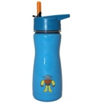 "Eyla's ""Frost"" Kids' Stainless Steel Insulated Bottle with Straw: Blue with Robot, Top 13oz/400ml"