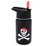 "Eyla's ""Scout"" Kids' Stainless Steel Bottle with Straw: Black with Pirate, Top 13oz/400ml"