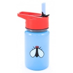 "Eyla's ""Scout"" Kids' Stainless Steel Bottle with Straw: Blue with Fly, Top 13oz/400ml"