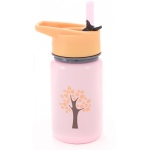 "Eyla's ""Scout"" Kids' Stainless Steel Bottle with Straw: Pink with Tree, Top 13oz/400ml"