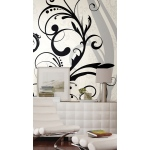 RoomMates Black & White Scroll Extra Large Wallpaper Mural 10.5' x 6'