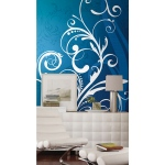 RoomMates Blue & White Scroll Extra Large Wallpaper Mural 10.5' x 6'