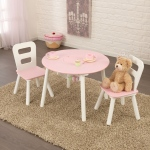 Kidkraft Round Storage Table & Chair Set - White & Pink: Made of Composite wood materials