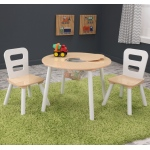 Kidkraft Round Table & 2 Chair Set white/Natural: Made of Composite wood materials