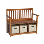 "Guidecraft Mission Storage Bench & Bins: 3 storage compartments, bins included, seat height 14.5"" (G86407)"