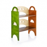 Guidecraft See & Store Stacking Bookshelf: Featuring earth-toned panels and playful shapes, the See and Store Furniture Collection is ideal for all playrooms, bedrooms, or living rooms., This single bookshelf with curved back and side handles features woo