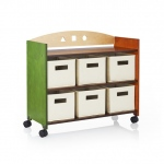 Guidecraft See & Store Rolling Storage Center: Featuring earth-toned panels and playful shapes, the See and Store Furniture Collection is ideal for all playrooms, bedrooms, or living rooms., This mobile storage center offers two fixed shelves plus a top l