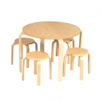 Guidecraft Nordic Table & Chairs -Natural: birch wood, natural bentwood contours, smooth edges, 4 stools included (G81045)