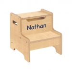 Guidecraft Expressions Step Stool Natural: can be personalized, solid construction, metal hardware, handle cut-outs (G87206)