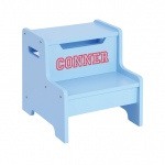 Guidecraft Expressions Step Stool Light Blue: can be personalized, solid construction, metal hardware, handle cut-outs (G87606)