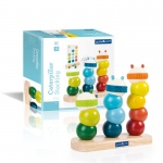 Guidecraft Caterpillar Stacking: Fine motor skills; Sensory exploration; Sequencing skills; Rounded, chunky, tactile shapes; Caterpillar families; Stacking multiple blocks; Color-matching activity cards (G6731)