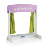 Guidecraft Showtime Tabletop Theater: Table theater; Reversible marquis sign; Platform and light green curtains (G51075)
