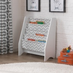 Kidkraft White Sling Bookshelf - Gray Pattern: 5 sturdy canvas slings