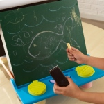 Kidkraft Tabletop Easel - Espresso with Brights: • Features a chalkboard and paper easel