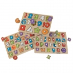 Kidkraft Educational 2 Peg Puzzle Set: Set of 2 puzzles makes learning numbers, letters and shapes fun!