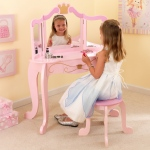 Kidkraft New Princess Table & Stool: A pull-out center drawer with gold crown knob for keeping special treasures