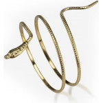 Metal Snake Armband: Gold, One-Size, Everyday, Female, Adult