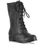 Combat Child Boots: Black, Small, Everyday, Unisex, Child
