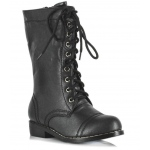 Combat Child Boots: Black, X-Large, Everyday, Unisex, Child