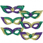 Amscan Mardi Gras Sequin Party Masks (Pack of 6) Green/Purple/Yellow