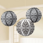Amscan Black Damask Paper Lanterns Black/White