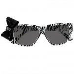 Rhode Island Novelty Zebra Print Nerd Glasses with Bow Black & White