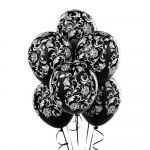 Damask Metallic Black Latex Balloons (6): Black, Birthday