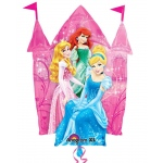 Disney Princess Castle Jumbo Foil Balloon: Pink/Blue, Birthday
