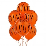 Jungle Tiger Stripes Latex Balloons (6): Birthday