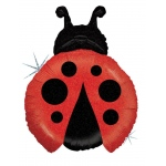 Ladybug Shaped Jumbo Foil Balloon: Red/Black, Birthday