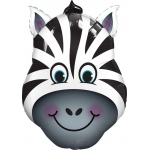 Zany Zebra Shaped Jumbo Foil Balloon: Black & White, Birthday