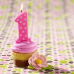 Pink 1st Birthday Polka Dot Candle: Pink, Birthday