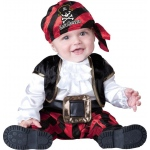 Cap'n Stinker Pirate Infant / Toddler Costume: Black, 6-12 Months, Everyday, Male, Infant
