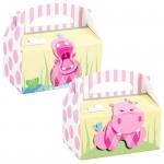 Birthday Express Hippo Pink Empty Favor Boxes Pink